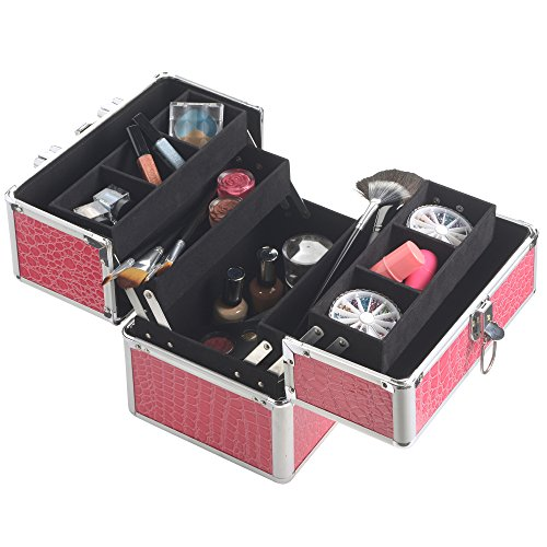 beautify professional aluminum 10 beauty cosmetics make up train case faux pink crocodile. Black Bedroom Furniture Sets. Home Design Ideas