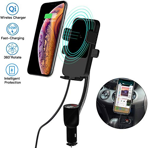Cigarette Lighter Car Mount,3-In-1 Wireless Charging&Car Phone Holder&Dual USB Charger,LED Display Voltage Current for Samsung Galaxy Note9 S9 S8 Plus,iPhone X/XR/XS Max/8 Plus QI-Enabled Phone[Black] (Hardwired Car Kit)