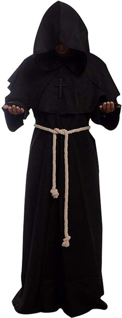 Golden service Costume da Monaco Sacerdote Accappatoio Frate Medieval Rinascimentale per Halloween Carnevale