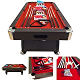 8' Feet Billiard Pool Table with Automatic ball return system on the short side Snooker Full Set Accessories Game mod. Vintage Red 8