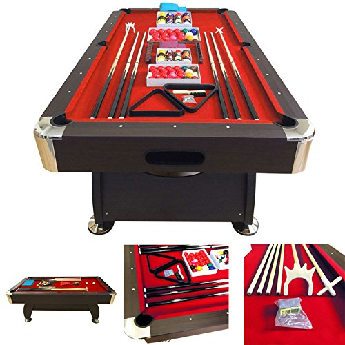 - SIMBASHOPPING USA 8' Feet Billiard Pool Table with Automatic Ball Return System on The Short Side Snooker Full Set Accessories Game mod. Vintage Red 8