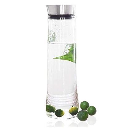 1,5 L Jarra agua botella, de cristal de borosilicato con tapa de acero