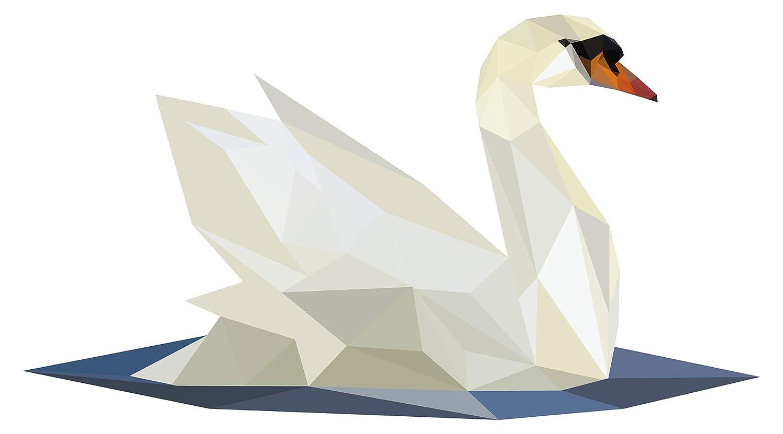 Wandtattoo Asien Schwan im Origami Design Wandsticker Wanddeko Wohnzimmer Deko