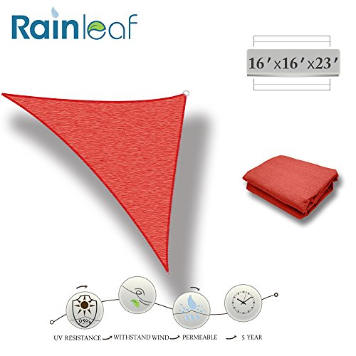 Rainleaf Right Triangle Sun Shade Sail, 16' x 16'x23', Terra, UV Block,Breathable, Vivid Color,Perfect for Driveway, Swimming Pool, Patio, Backyards, Courtyards, Gardens