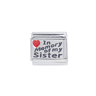 In Memory of My sister - Red heart laser 9mm Italian charm fits Zoppini 723637fccf8a