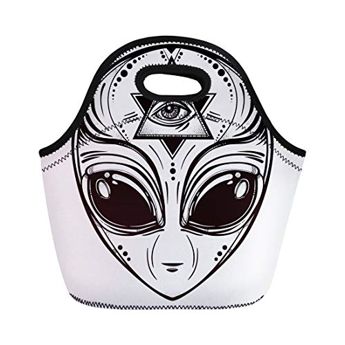 Semtomn Lunch Bags Black Alien Face Halloween Conspiracy Theory Sci Fi Religion Neoprene Lunch Bag Lunchbox Tote Bag Portable Picnic Bag Cooler -