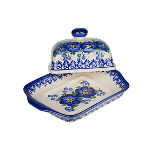 BCV Classic Boleslawiec Pottery Hand Painted Stoneware, Ceramic Butter Dish with lid 067 (U-003)