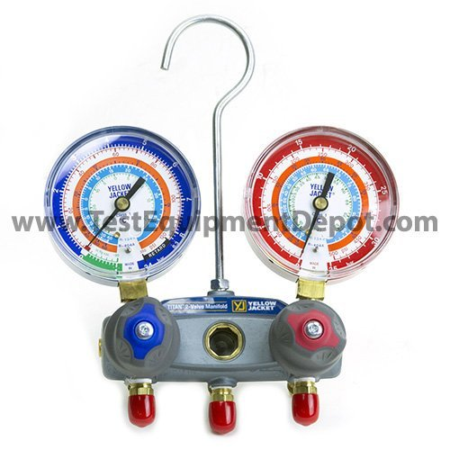 Yellow Jacket 49833 Manifold with Red/Blue Gauges, bar/psi Scale, R-22/134A/404A Refrigerant