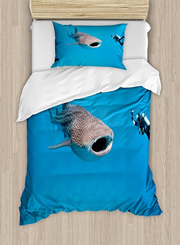 Shark Duvet Cover Set Twin Size by Ambesonne, Giant Whale Shark and Underwater Photographer in Wildlife Diving Image, Decorative 2 Piece Bedding Set with 1 Pillow Sham, Violet Blue Pale Grey