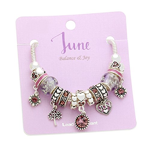 Rosemarie Collections Womens Birth Month Birthstone Glass Bead Charm Bracelet  June