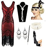 1920s Gatsby Sequin Fringed Paisley Flapper Dress with 20s Accessories Set (L, Red)