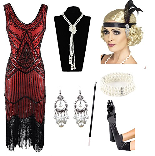 1920s Gatsby Sequin Fringed Paisley Flapper Dress with 20s Accessories Set (M, Red) -