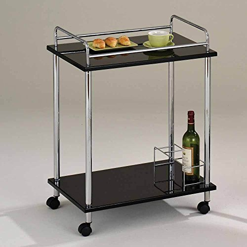 1PerfectChoice Fergus Kitchen Island Serving Cart Black Glass Shelves Wine Rack Rolling Base