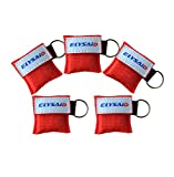 5PCS ELYSAID MINI CPR Mask Key Chain One-way Valve and Face Mask CPR FACE SHIELD DISPOSABLE