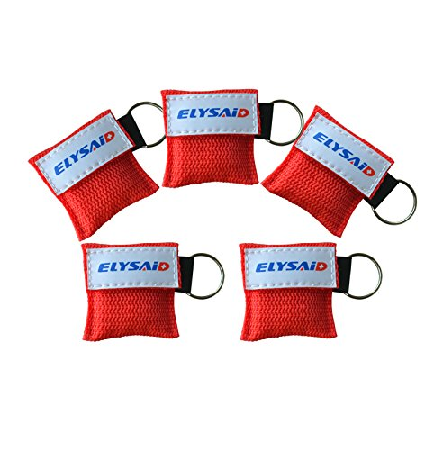 5PCS ELYSAID MINI CPR Mask Key Chain One-way Valve and Face Mask CPR FACE SHIELD DISPOSABLE by ELYSAID