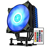 CPU Cooler, Aigo 4 Heat Pipes CPU Air Cooler 120mm PWM Colorful RGB CPU Cooler with Remote