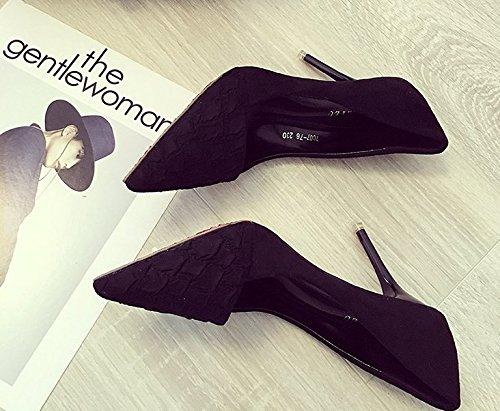MDRW-Lady Elegant Schuhe Arbeit Freizeit Feder 9 Cm Schwarz High-Heeled Schuhe Elegant Schuhe Schuhe Mit Einem Feinen Punkt All-Match Freizeitaktivitäten b11415