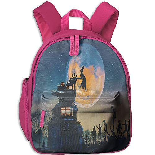 Haixia Kid's Boys'&Girls' Backpacks with Pocket Fantasy World Dead in Castle Zombies in Cemetery Love Affair Bridal Halloween Theme Full Blue Yellow