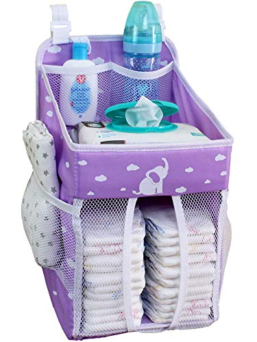 Baby Crib Diaper Caddy – Hanging Diaper Organizer – Storage for Baby Nursery – Hang on Crib, Changing Table, Playard or Furniture –Soft Purple – 17x9x9