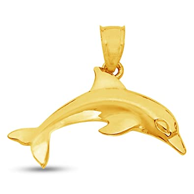Amazon 14k yellow gold dolphin charm pendant 15x17 mm jewelry 14k yellow gold dolphin charm pendant 15x17 mm aloadofball