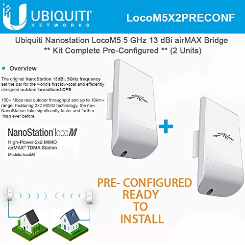 (Ubiquiti LocoM5 X 2 Units Bridge Kit Complete Pre-Configured Nanostation Loco)