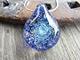Silver chain with Handmade Blown Glass blue glitter teardrop Pendant Necklace 14 - 22 inches(A1)