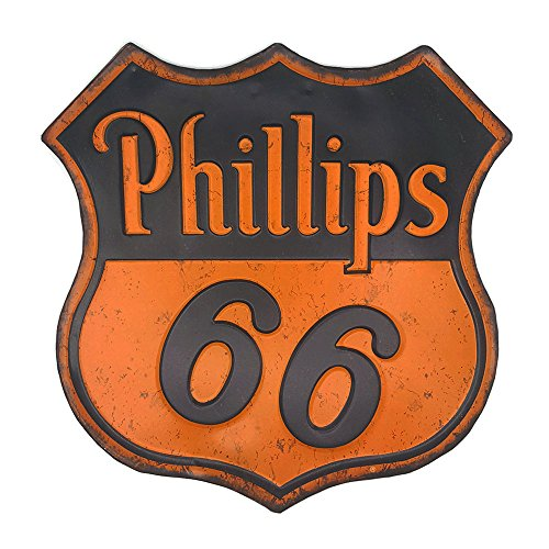 Phillips 66, Vintage Retro Embossed Metal Tin Sign, Wall Decorative Sign