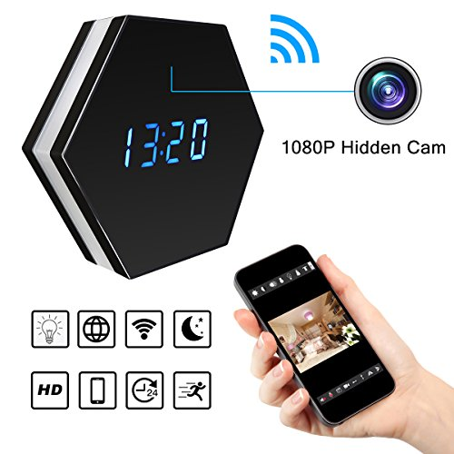 Covert Security Dvr (Wi-Fi Wireless Security Camera Alarm Clock – Bysameyee HD 1080P Video Recorder Nanny Mini Cam DVR, IP Network Camcorder with Motion Detection Night Vision Colorful Night-lights (17))