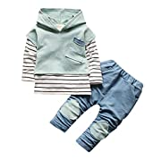 Toddler Kids Clothes Set Baby Boy Girls Outfits Hooded Stripe T-shirt Tops+Pants by Vovotrade (12M, Green)