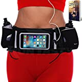 """[Voted #1 Hydration Belt] Running Fuel Belt by Runtasty; Includes accessories - 2 BPA Free Water Bottles & Runners Ebook; Fits ANY iPhone with regular case; w/Touchscreen cover; """"No Bounce"""" Fit ready!"""