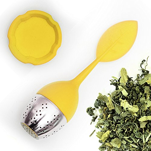 Best Tea Infuser (SILICONE TEA INFUSER with Drip Tray and Floating Handle by Teami Blends | Our Best BPA FREE Stainless Steel Ball Infusers for Loose Leaf Teas | Great Strainer as a Gift! (1, Yellow))