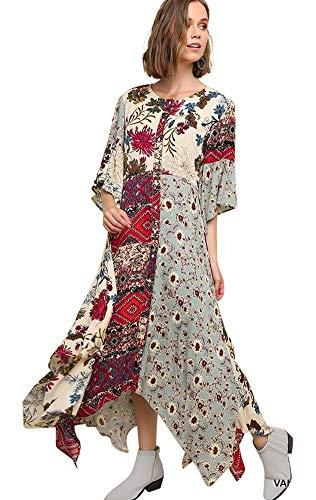 - Umgee to The Max! Women's Floral Mixed Print Bell Sleeve Maxi Dress (XL, Vanilla Mix)