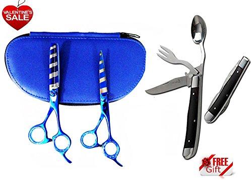 Professional Razor Edge Japanese J2 Stainless Steel Hair Cutting scissor shear And Hair Thinning Scissor Shear Set 6