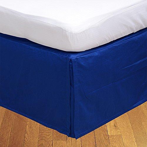 LaxLinens 250 fils cm², 100%  coton, finition élégante 1 jupe plissée de chute lit Longueur    30 cm petit Double, bleu roi, 100%  solide Bleu
