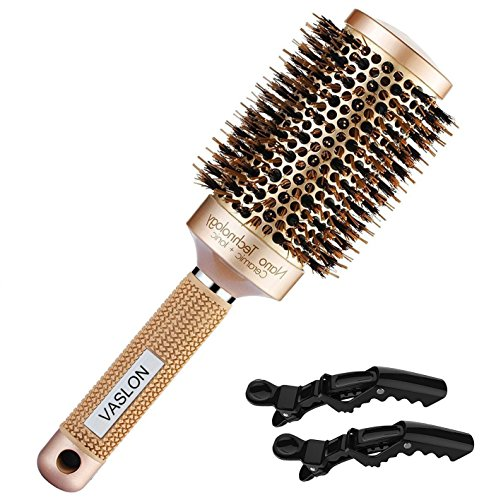 VASLON Thermal Ceramic Ionic Round Barrel Hair Brush with Boar Bristle, Blowout Brush for Blow Drying,Nano Curling &Straightening(2 Inch)