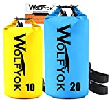 Wolfyok 20L/10L Dry Bag Roll Top Waterproof Floating Duffle Dry Gear Bag with Adjustable Shoulder Straps for Boating/Kayaking/Fishing/Rafting/Camping/Canoeing/Snowboarding