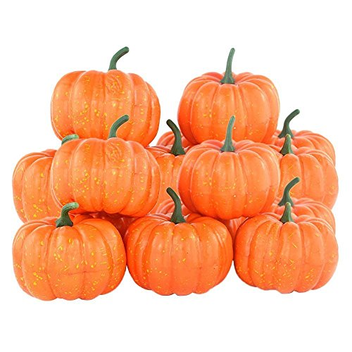 SunAngel Mini Fall Pumpkins Set, Artificial Lifelike Simulation Decoration Fake Fruit House Kitchen Decor (16PCS)