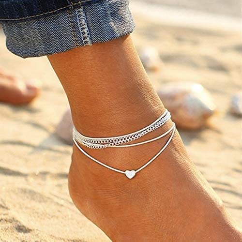 ZHNA Summer Fashion Anklet Super Cute Silver Love Heart Multilayer Anklet Chain Charm Elegant Sandals Anklets for Women Beach Jewelry Accessories