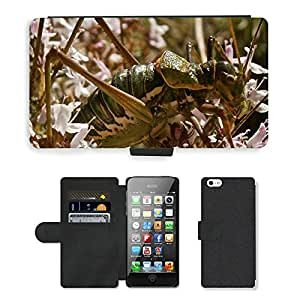 PU LEATHER case coque housse smartphone Flip bag Cover protection // M00129384 Insecto Saltamontes Bosque Naturaleza // Apple iPhone 5 5S 5G