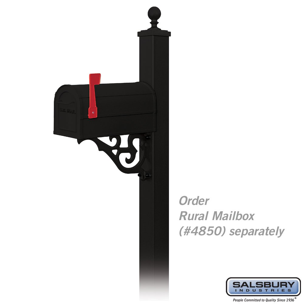salsbury industries 4845blk decorative victorian in ground mounted mailbox post black mailbox poles amazoncom - Mailbox Posts