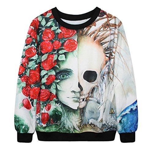 YICHUN mujeres Tops camiseta delgado Sudaderas Jerseys Print Pullovers Jersey Casual blusa Skull and Rose 4#