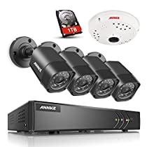 ANNKE 8CH 1080P Lite DVR Security Camera System 1TB Surveillance Hard Disk Drive and (4) HD 1280TVL Weatherproof CCTV Cameras (1) 960p 360° Panoramic Camera
