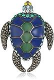 Tateossian Gunmetal Plated Swarovski Blue Green Enamel Mechanimal Turtle Tie Pin