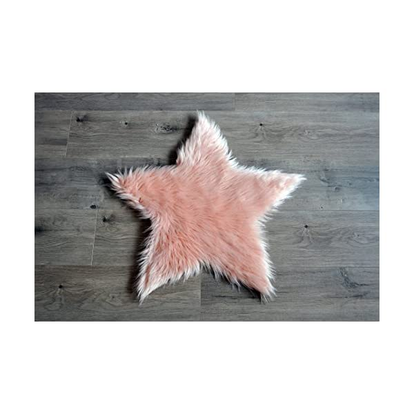 Machine Washable Faux Sheepskin Blush Star Rug 2′ x 2′ – Soft and silky – Perfect for baby's room, nursery, playroom (Star Small Blush)