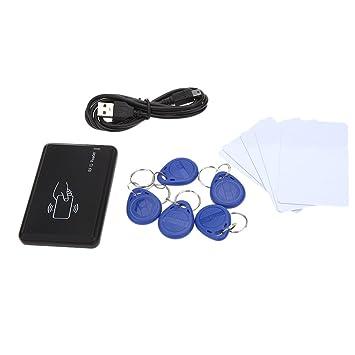 KKmoon Lector de Tarjetas Proximidad Sensor de ID Card USB Interfaz 5pcs + 5pcs Llavero 125Khz EM 4100