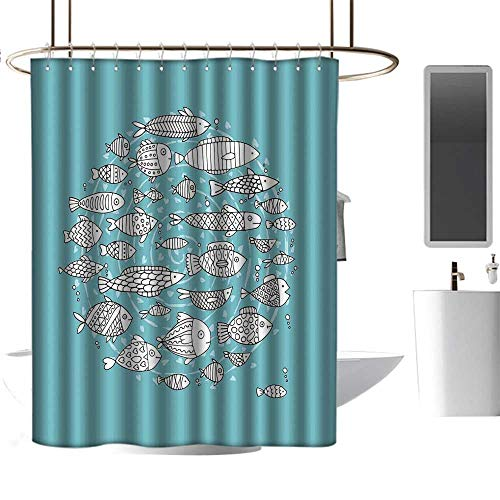 Qenuan Shower Curtain Liner Resistant Doodle,Baby Fish Community Swimming in The Ocean Kids Nursery Playroom Cartoon,Pale Blue and White,Waterproof Washable Bathroom Curtain 60