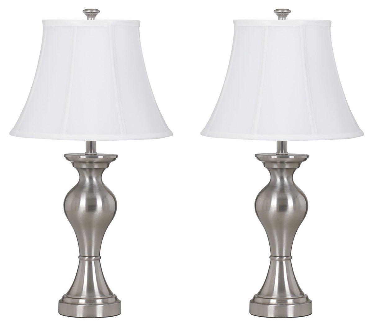 Ashley Furniture Signature Design - Rishona Metal Table Lamps - Set of 2 - Brushed Silver Finish
