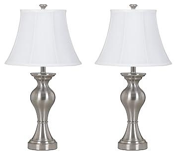 Ashley L204124 Rishona Brushed Silver Finish Metal Table Lamp (Pack Of 2),  Tools U0026 Home Improvement   Amazon Canada