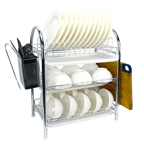 Amazing space saving 3 tier stainless steel dish drying rack