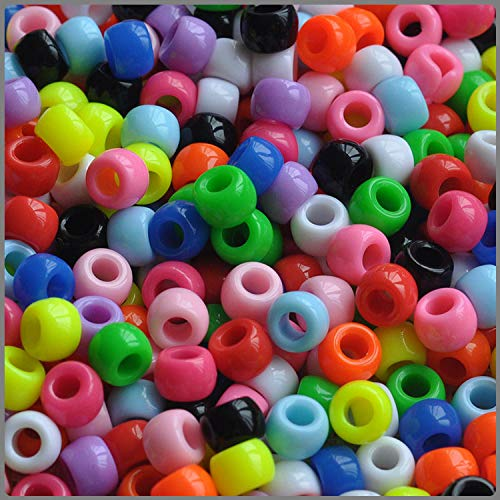 Pony Beads Multi Colors 6X 9mm 1000pcs Crayon Mix in Bag ()
